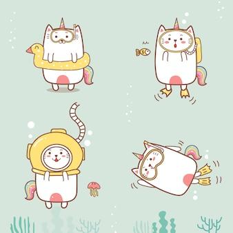 Lindo gato unicornio buceo dibujos animados de verano