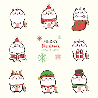 Lindo gato unicornio dibujos animados dibujados a mano con tema de navidad.