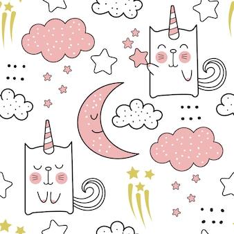 Lindo gato unicornio dibujos animados de patrones sin fisuras
