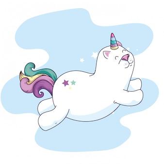 Lindo gato unicornio fantasía