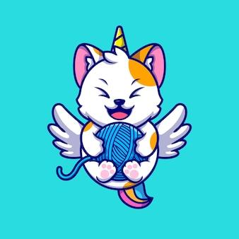 Lindo gato unicornio jugando ilustración de icono de dibujos animados de bola de hilo.