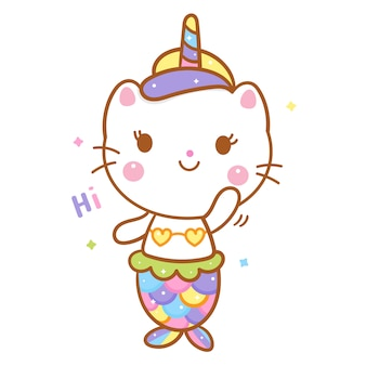 Lindo gato unicornio say hola sirena de dibujos animados