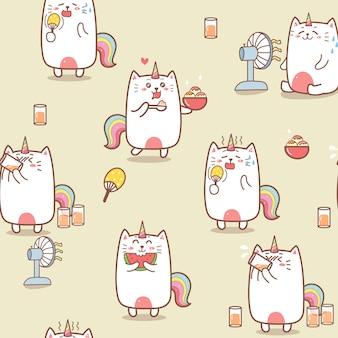 Lindo gato unicornio verano dibujos animados de patrones sin fisuras.