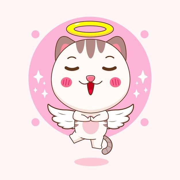 Lindo gato volando como una ilustración de dibujos animados de ángel