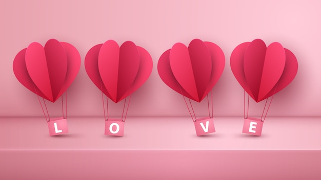 Lindo globo aerostático de papel. amor ilustracion