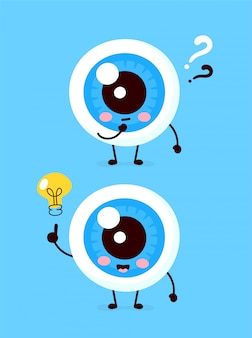 Lindo globo ocular con signo de interrogación y carácter de bombilla. icono de ilustración de personaje de dibujos animados plana. aislado en blanco ojo tiene idea