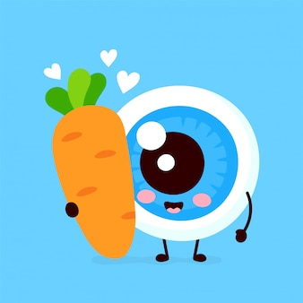 Lindo globo ocular con zanahoria enamorada
