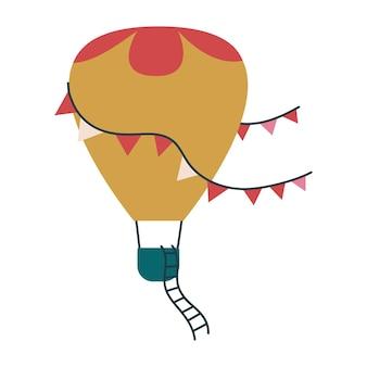 Lindo globo de transporte de color ocre. impresión vectorial para niños. vuelo en el cielo. clipart de arte infantil aislado. minimalismo para la guardería o estampado para bebés niños