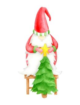 Lindo gnomo de acuarela con árbol de navidad