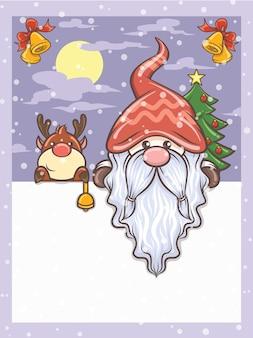 Lindo gnomo y lindo personaje de dibujos animados de ciervos en la ilustración de navidad