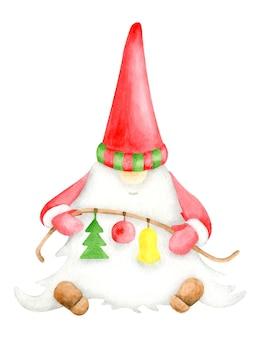 Lindo gnomo de navidad acuarela