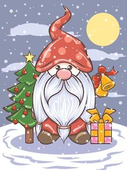Lindo gnomo sosteniendo cascabeles - ilustración de navidad