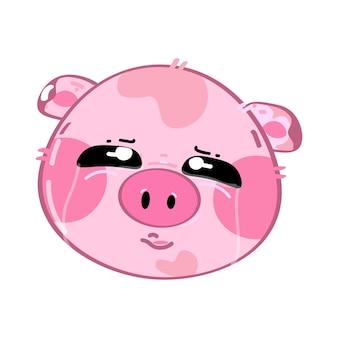 Lindo gracioso cerdito kawaii triste y llorando