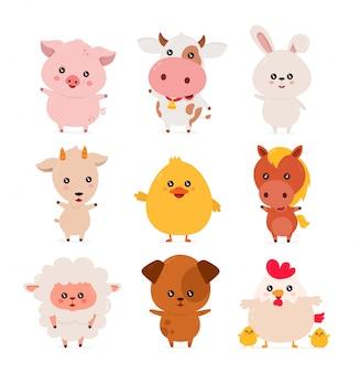 Lindo gracioso sonriente feliz conjunto de animales de granja