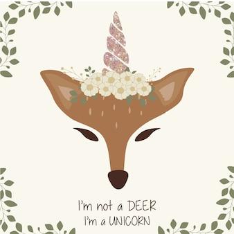 Lindo gráfico de ciervo con cuerno de unicornio y corona de flores.