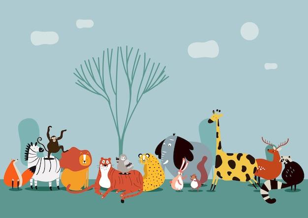 Lindo grupo de animales salvajes