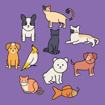 Lindo grupo de mascotas adorables personajes.