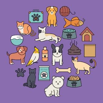 Lindo grupo de mascotas con artículos fijos.