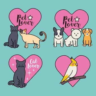 Lindo grupo de mascotas con corazones.