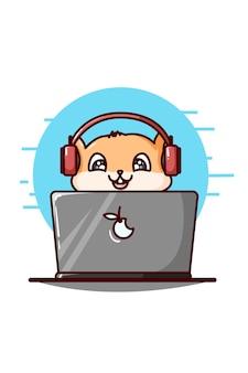 Un lindo hámster con auriculares y tocando la ilustración de la computadora portátil