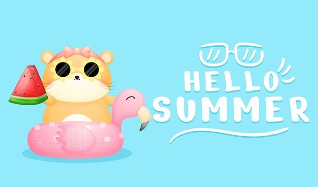 Lindo hámster en flamingo con banner de saludo de verano