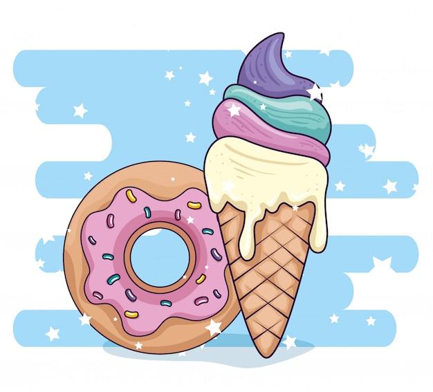Lindo helado en cono con deliciosa ilustración de donut