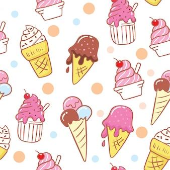 Lindo helado dibujado a mano de patrones sin fisuras