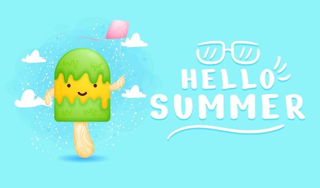 Lindo helado jugando cometas con pancarta de saludo de verano
