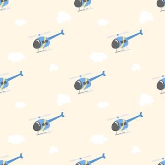 Lindo helicóptero y nube de patrones sin fisuras
