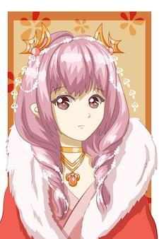 Lindo y hermoso cabello rosa reina con ilustración de dibujos animados de personaje de diseño de vestido rojo