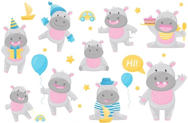 Lindo hipopótamo adorable en diferentes situaciones establecidas, encantador personaje de dibujos animados de animal gigante feliz sonriente ilustración