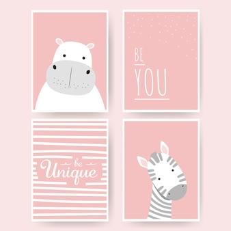 Lindo hipopótamo y cebra dibujos animados doodle rosa pastel conjunto de tarjetas infantiles