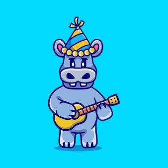 Lindo hipopótamo celebrando el año nuevo con la ilustración de la guitarra