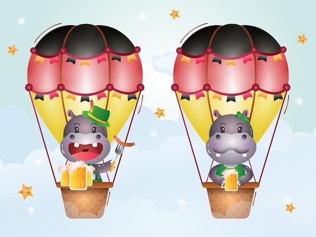 Lindo hipopótamo en globo aerostático con el tradicional vestido de la oktoberfest