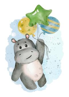 Lindo hipopótamo con globo ilustración acuarela dibujado a mano