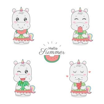 Lindo hipopótamo unicornio comiendo sandía dibujos animados mano amanecer horario de verano.