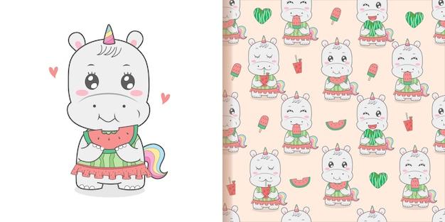 Lindo hipopótamo unicornio comiendo sandía de patrones sin fisuras dibujos animados mano amanecer horario de verano.