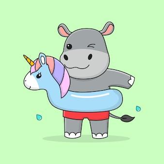 Lindo hipopótamo con unicornio de goma