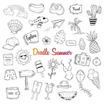 Lindo hola ilustración de verano con estilo doodle