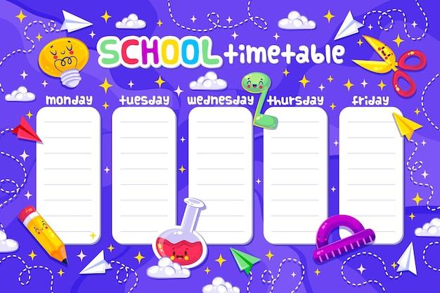 Lindo horario de diseño plano de regreso a la escuela
