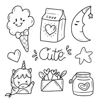 Lindo icono de colección de dibujo de etiqueta engomada del doodle kawaii