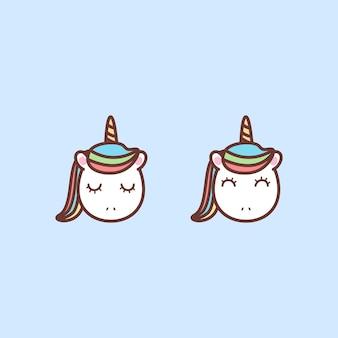 Lindo icono de dibujos animados de cara de unicornio