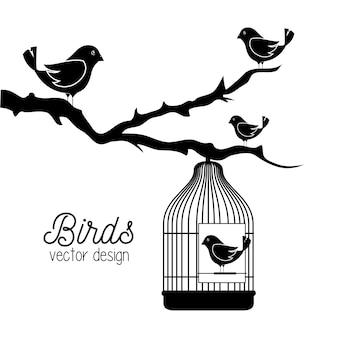 Lindo icono de pájaro ornamental