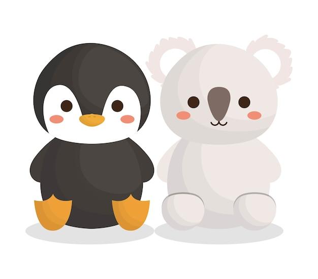 Lindo icono de pingüino y animales koala