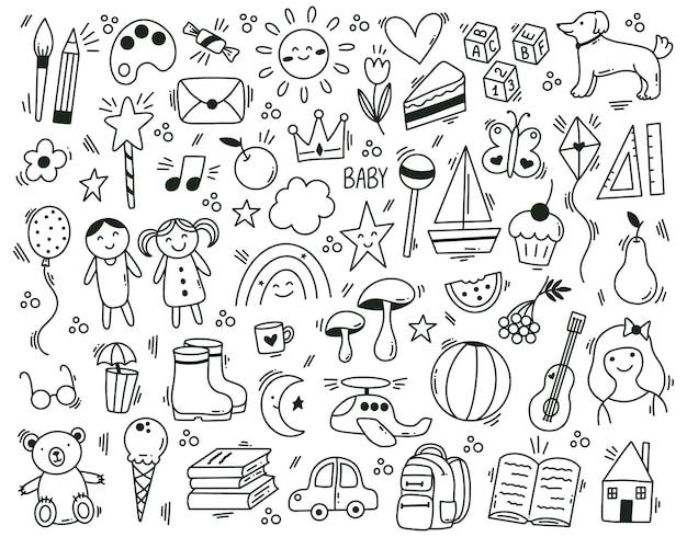 Lindo jardín de infancia infantil dibujado a mano elementos de doodle. los niños divertidos dibujados a mano aprenden y juegan conjunto de símbolos vectoriales. iconos de bebé doodle