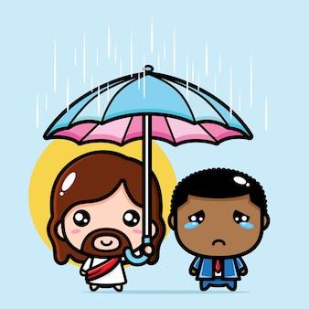Lindo jesucristo paraguas niño triste
