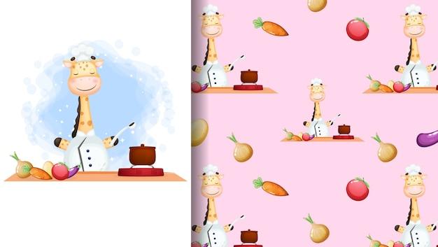 Lindo jirafa chef feliz sonriendo cocinando cartel de personaje de dibujos animados y patrones sin fisuras