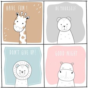 Lindo jirafa oso león hipopótamo dibujos animados doodle conjunto de tarjeta infantil