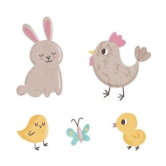 Lindo juego con animales de primavera mariposa, polluelos, pollo y conejo sobre fondo blanco.