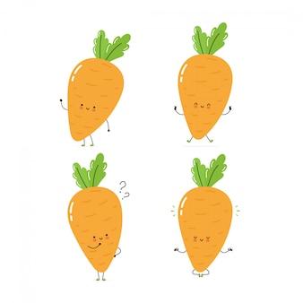 Lindo juego de caracteres de zanahoria feliz colección. aislado en blanco diseño de ilustración de personaje de dibujos animados de vector, estilo plano simple. zanahoria caminar, entrenar, pensar, meditar concepto
